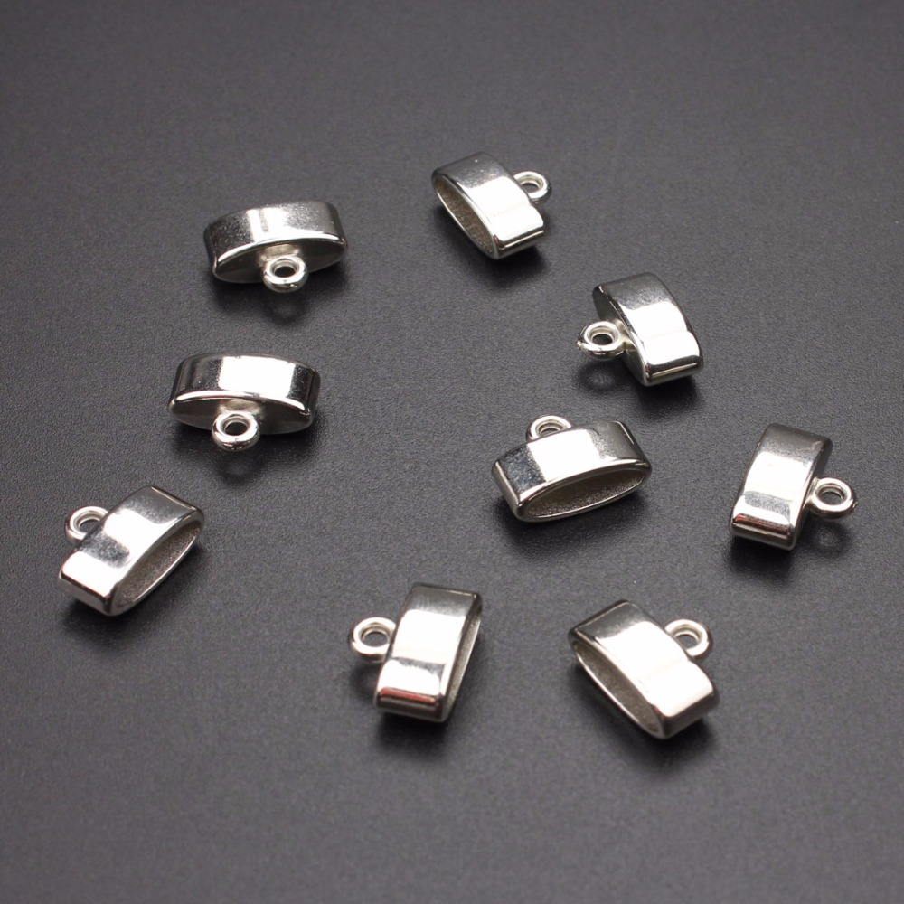 цена на 50pcs/lot NEW style Rhodium Plated End Caps Crimp Beads Covers for DIY Jewelry Accessories Findings 10*14*6mm