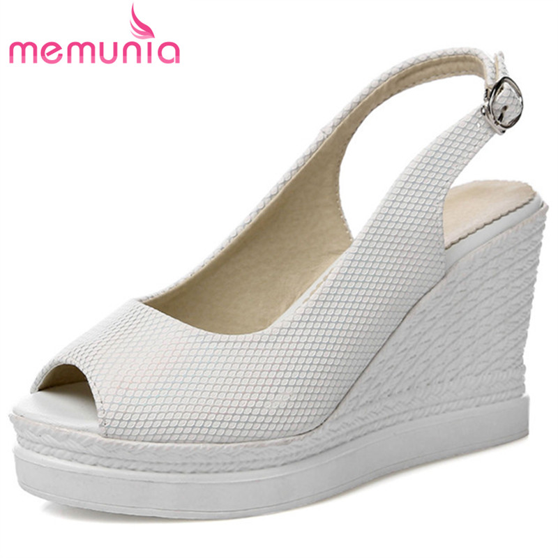 MEMUNIA Wedges shoes woman in summer spuer heels 9cm platform shoes PU solid buckle women sandals party shoes big size 34-43 anmairon shallow leisure striped sandals women flats shoes new big size34 43 pu free shipping fashion hot sale platform sandals