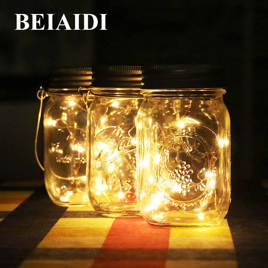 Solar patio lanterns - Beiaidi 3pcs Solar Mason Jar Bottle Hanging Light Lantern Mason Jar Solar Langarden Dscape Patio Deck Light
