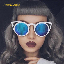 Prouddemon Stylish Women Sunglasses Vintage Cat Eye Sun glasses Metal Eyeglasses Frames Mirror reflect Shades Sexy unisex UV400
