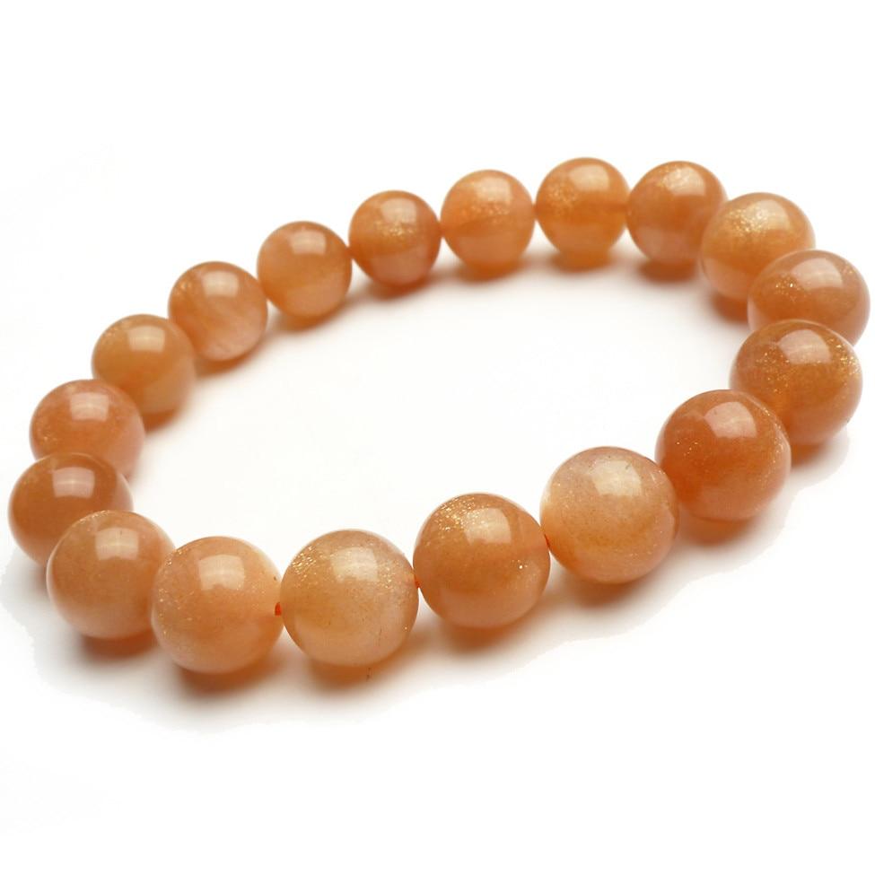 Drop Shipping 11mm Genuine Natural Sunstone Bracelets For Women Lady Stretch Charm Round Crystal Bead Bracelet Fashion Bracelet