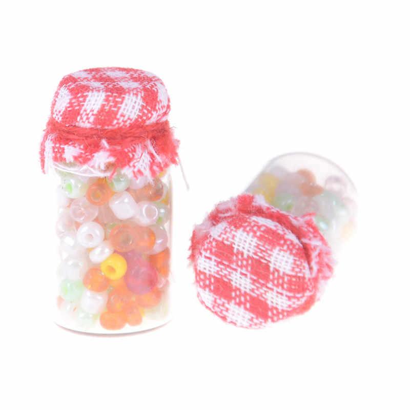 2 個ファッション 1:12 ドールハウスミニチュアガラスキャンディーキャニスターミニ瓶食品 1.0*1.0*2.1 センチメートル