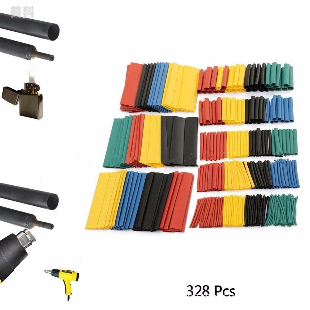 328 Pcs/lot Heat Shrink Tubing 5 Colors 8 Sizes Assorted 2:1 Heat Shrink Tubing Tube Sleeve Wrap Wire Cable Kit Top KYY8069 недорого