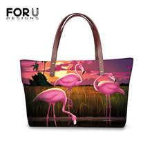 FORUDESIGNS Women Fashion Totes Handbag Sunset Flamingos Prints Pattern Shoulder Handbag Cartoon Girls Large Capacity Totes Bags недорго, оригинальная цена