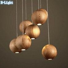 7 Bombillas de 1 Placa de Arte Moderno De Madera Bola de Madera Colgante de Luz Comedor Lámpara Colgante Restaurante Lámparas Luminaria