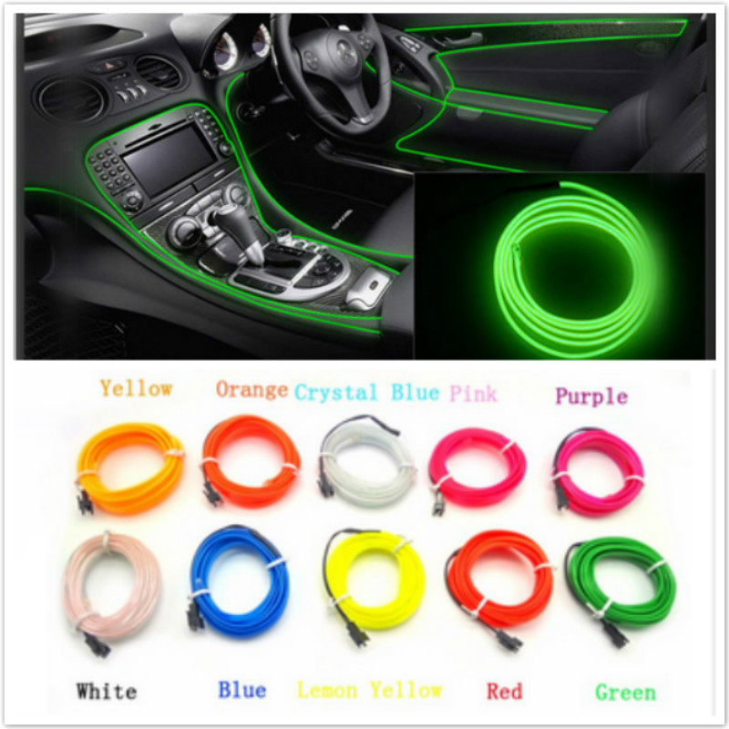 LED Cold lights Neon EL Wire Line Interior Strip lamp For Ford focus CC BMW Benz VW Audi kia hyundai Lexus Toyota For Chevrolet new arrival colorful neon led bulbs melbourne shuffle dance costume night lamp el wire bright ghost step suit for concert party