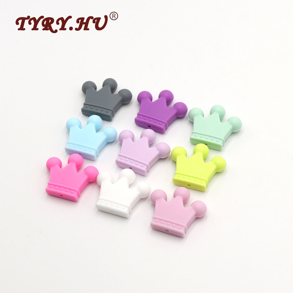 TYRY.HU Original 35*30*7mm Crown Silicone Teether Beads  25pcs Baby  Teether Nursing Pendant Beads For DIY Necklace Bracelet