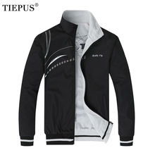 TIEPUS мужская куртка, осенняя Новая мужская спортивная куртка с вышивкой, тонкая Двусторонняя куртка, Мужское пальто, размер L-5XL 6XL