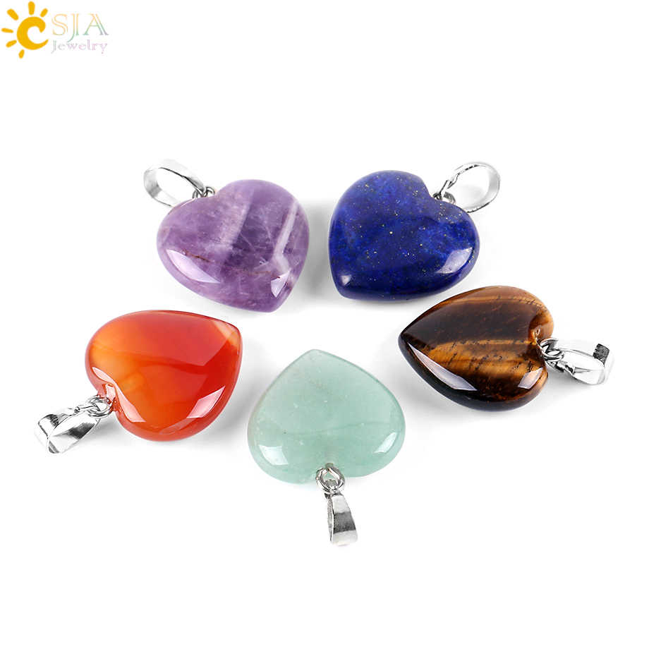 CSJA Natural Love Heart Necklaces & Pendants for Lover Gem Stone Pink Quartz White Crystal Healing Necklace Charm Jewelry E594