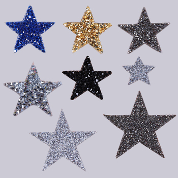 Hot Crystal Rhinestone Star Patches DIY Motif Iron on Patches Applique For Heat Transfer Clothing Shoe Bag image