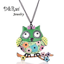 Colorful Large - eyed Owl Long Necklace Pendant Trendy Women Alloy Statement Classic Collar Jewelry Necklaces Pendants