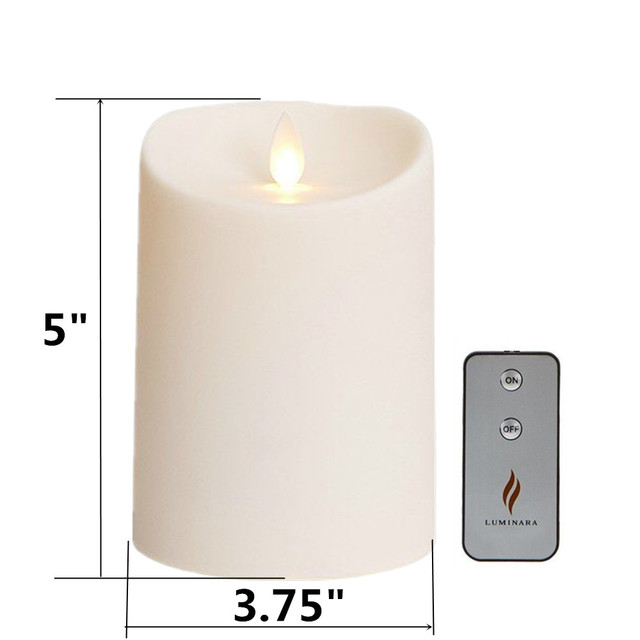 Luminara Outdoor Flameless Led Pillar Candles Waterproof Battery Operated With Remote Timer 3 75 5 Inch For Garden 2pcs