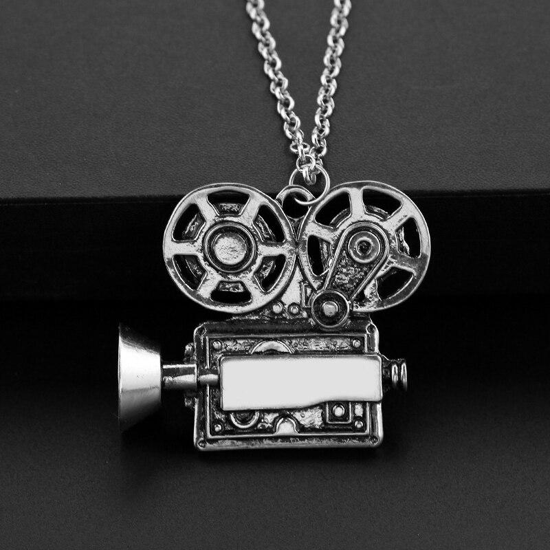 Colar do encanto do vintage câmera filme projektor colares & pingentes cineasta presente liga grande colar de afirmação