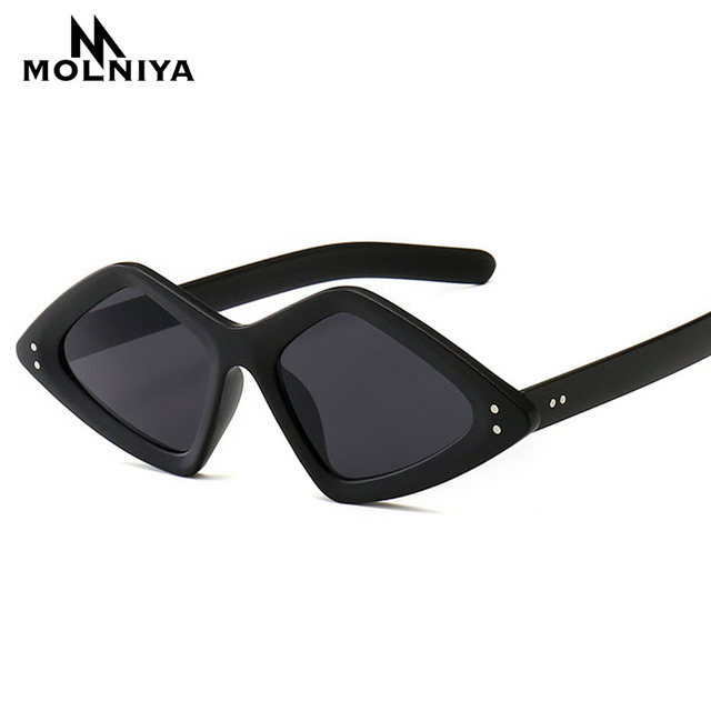80391b8266 Fashion Rivet Small Frame Sunglasses Women Stylish irregular Narrow  Triangle Rivet Sun Glasses Vintage Sun Shades