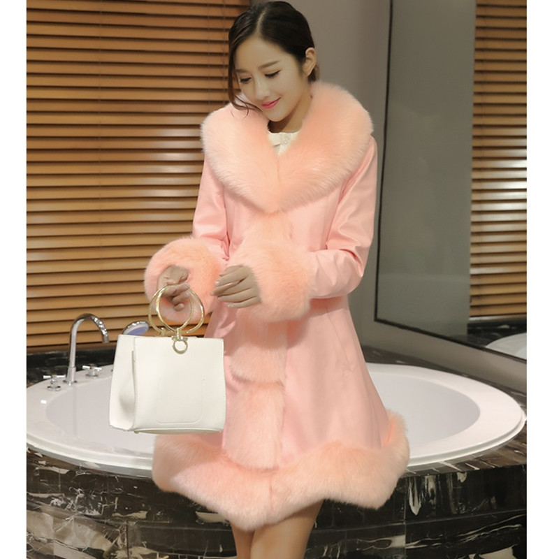 Col Veste De Couture white D'hiver Manteau Section En breasted Mince Cuir V Longue Fourrure Faux Black pink Tops Single Yagenz Femmes Rose 803 1qnEYY