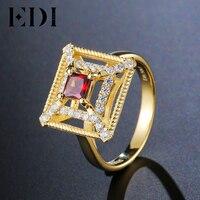 EDI Echt 925 Sterling Zilver Princess Cut Natuurlijke Granaat Ring voor Vrouwen Luxe Ontwerp Party Vrouwelijke 18 K Goud Fijne sieraden