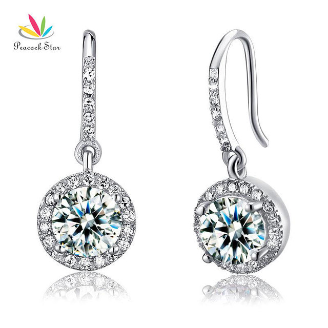 Pavo real Estrella Sólida Plata de ley 925 Joyería de Moda Nupcial de la Boda de dama de Honor Pendientes Cuelga Gota de Diamante Creado CFE8026