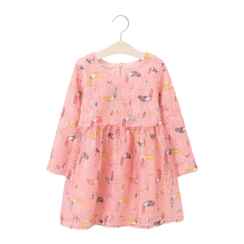 Baby Girl Dress Long Sleeve Cotton Pink Lace Kids Dresses For Girls Children Clothing Spring Autumn Clothes Party Dress Costume fashion kids baby girl dress clothes grey sweater top with dresses costume cotton children clothing girls set 2 pcs 2 7 years