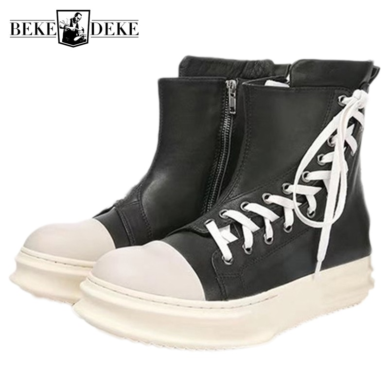Mans Footwear 2019 New Luxury High Top Zip Sneakers Trainers Genuine Leather Platform Boots Fashionable Winter