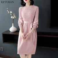 2018 Autumn New Lantern Long Sleeve Stretch Knitted Dress Bow Tie Up Pearl Beading Drill Elegant Pink Sweater Dresses Vestidos