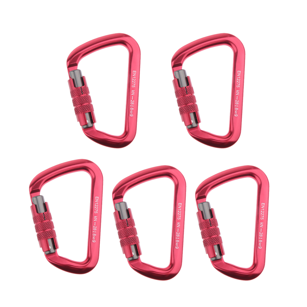 5pcs 28KN Rock Climbing Mountaineering Rappelling Auto Locking Carabiners for Abseiling Roofing Hammock Swing Aerial Working