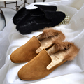 AVVVXBW Comfortable Plush Shoes Woman 2016 Autumn and Winter Rabbit Fur Shoes Square Toe Flats Single Shoes Warm Slippers