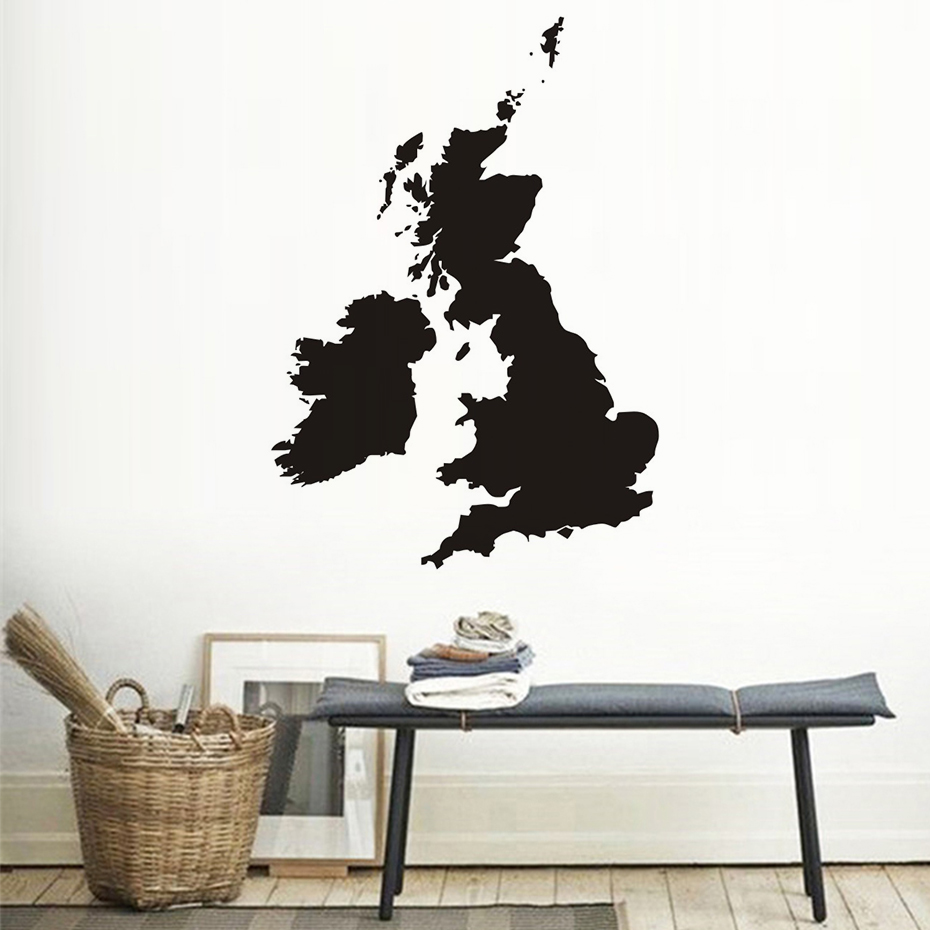 The United Kingdom Map Waterproof Wall Stickers Living Room Pvc ...