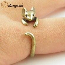 CHENGXUN бохо шик винтаж серебряный латунный сустав регулируемый мышь животного обёрточная бумага свадебное кольцо дамская мода ювелирные изделия подарок
