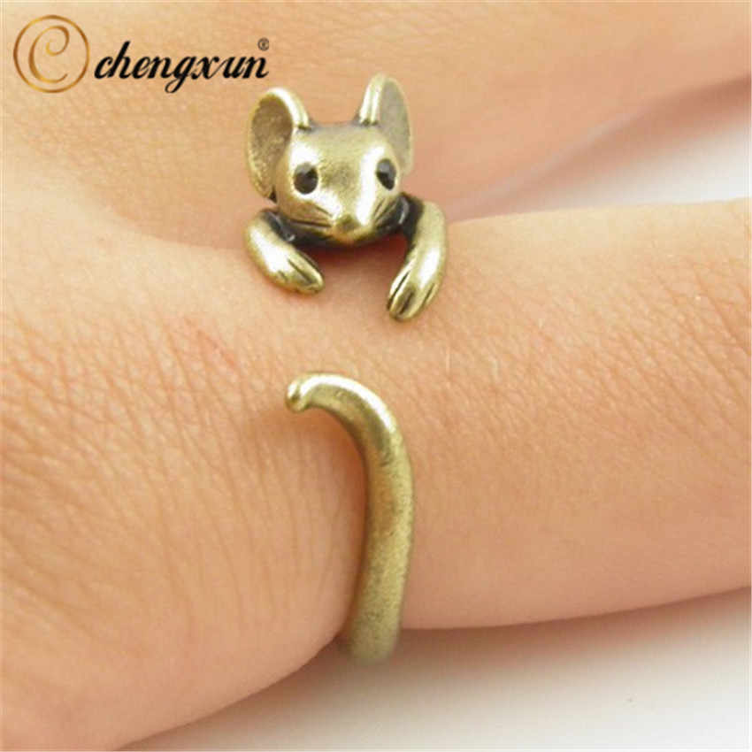 CHENGXUN Boho Chic Vintage Silver Brass Knuckle Adjustable Mouse Animal Wrap Weeding Ring Ladies Fashion Jewelry Gift