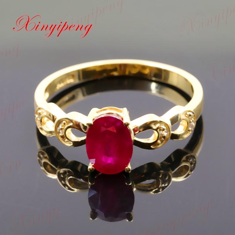 цена на Xinyipeng18K yellow gold inlaid natural ruby ring style beautiful women model