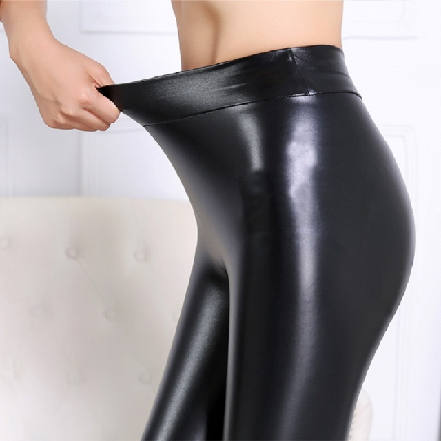 Hot Winter Leggings Thickening Black Leather Leggings Skinny Pants Warm Women's Trousers Boots Pants For Women High Quality