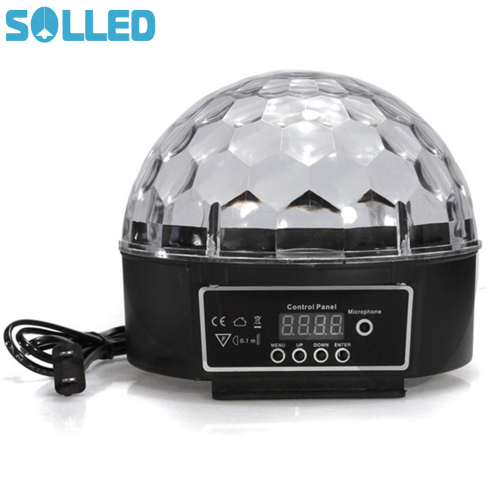 SOLLED Colour Changing 27W Creative LED Stage Laser Lamp Crystal Ball Light Club Disco DJ Party Bar Sound Sensor Decoration mipow btl300 creative led light bluetooth aromatherapy flameless candle voice control lamp holiday party decoration gift