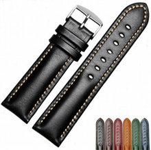 CARLYWET 18 20 22mm Men Women Handmade Leather VINTAGE Black Brown Blue Green Wrist Watch Band Strap Belt Silver Polished Buckle