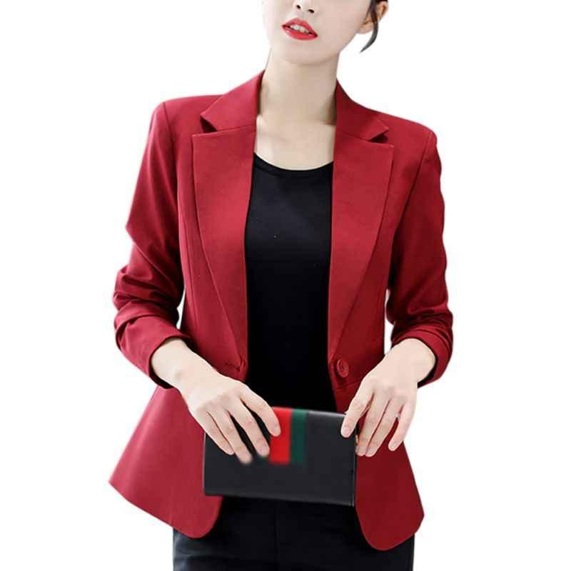 Azul negro rojo mujer blazers y chaquetas un botón de manga larga abrigo Delgado Oficina señora abrigo mujer traje Blazer otoño abrigos F2