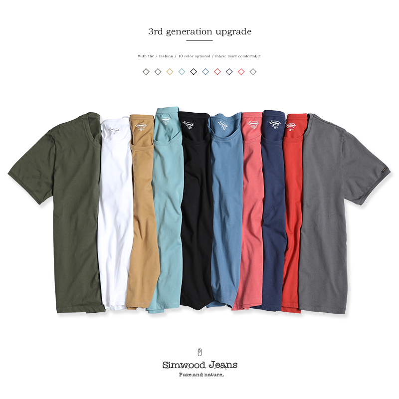 Simwood Brand Clothing Cotton O-neck Men's   T  -  shirts   100% Pure Cotton Fashion Solid Slim Fit Crew Neck Simple Top Tees TD1073