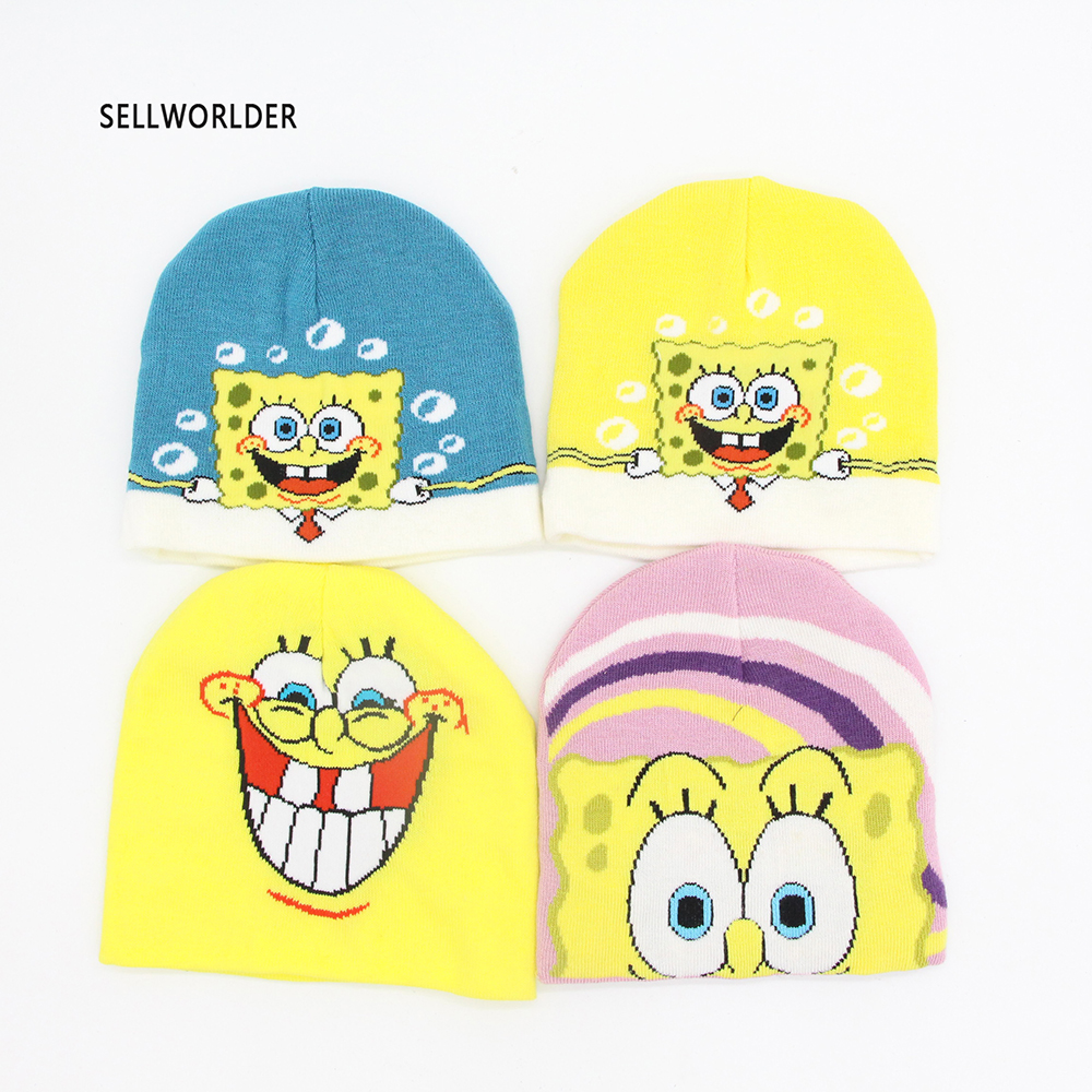 Limited Sale SELLWORLDER Baby Kids 2018 Winter Warm Hat Cute Spongebob Cartoon Character Printed   Skullies   &   Beanies