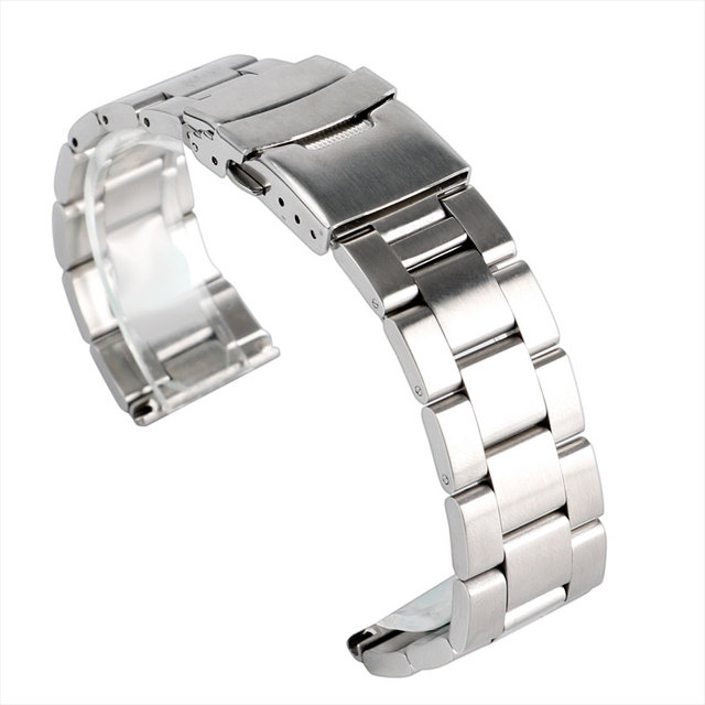 Fabulous Watchbands Solid Stainless Steel Silver Watch Strap 20/22 mm Folding Cl