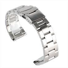 Bracelet de montre en acier inoxydable massif et argent, fermoir de 20mm 22mm, 2 barres de suspension