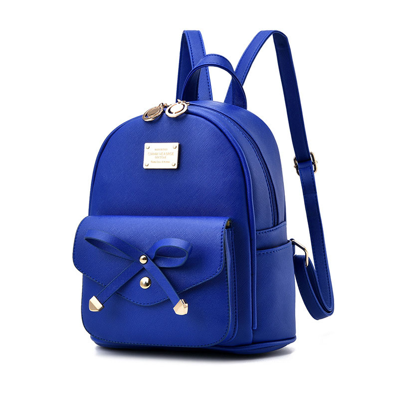 Girls Bowknot Cute Leather Backpack Mini Backpack Purse for Women 1