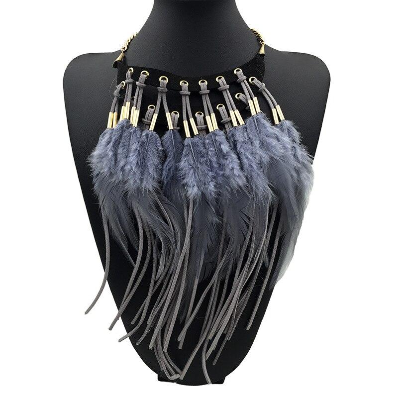 eeb6a64af1a8 Bohemio étnico amplia Strand perlas cadenas larga borla Collar Multi collares  Collar falso cuello corbata joyería