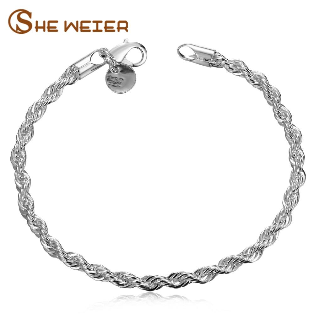 SHE WEIER silver charms chain link jewelry bracelet and bangles for women femme bijouterie girls braslet female bracelets &