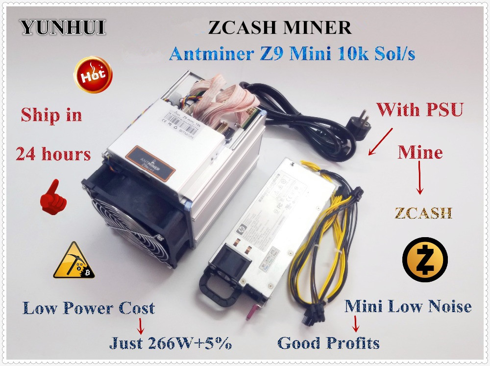 YUNHUI Utilizzato Antminer Z9 Mini 10 k Sol/s 300 W ZCASH ZEN ZEC BTG Asic Equihash Minatore può miniera di ZEN ZEC BTG moneta può raggiungere a 14
