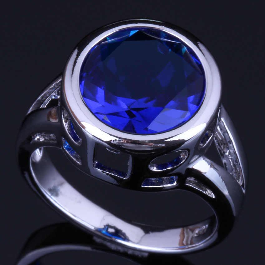 Świecące okrągłe niebieska cyrkonia sześcienna 925 Sterling srebrny pierścień dla kobiet V0450