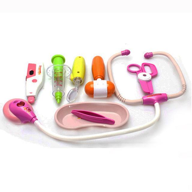 8 unids médica kids doctor toys set función play toy niños pretend play house doctora juguetes