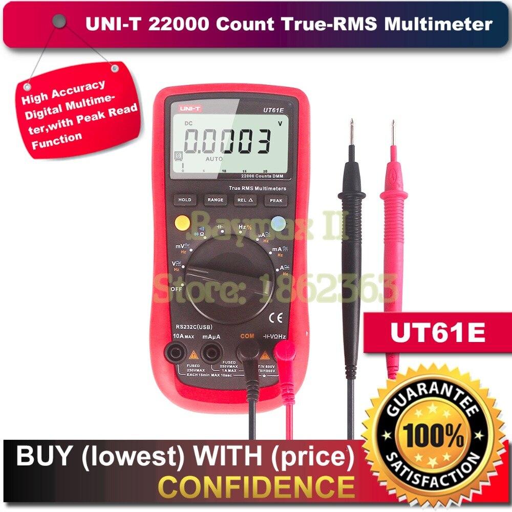 UNI-T UT61E 22000 cuenta True Rms multímetro Digital AC/DC tensión corriente, resistencia, probador de capacidad con RS232C Cable