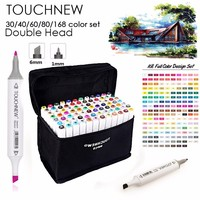 TOUCHNEW Art Marker 30 40 60 80 Colors Alcohol Based Ink Marker Set For Manga Dual