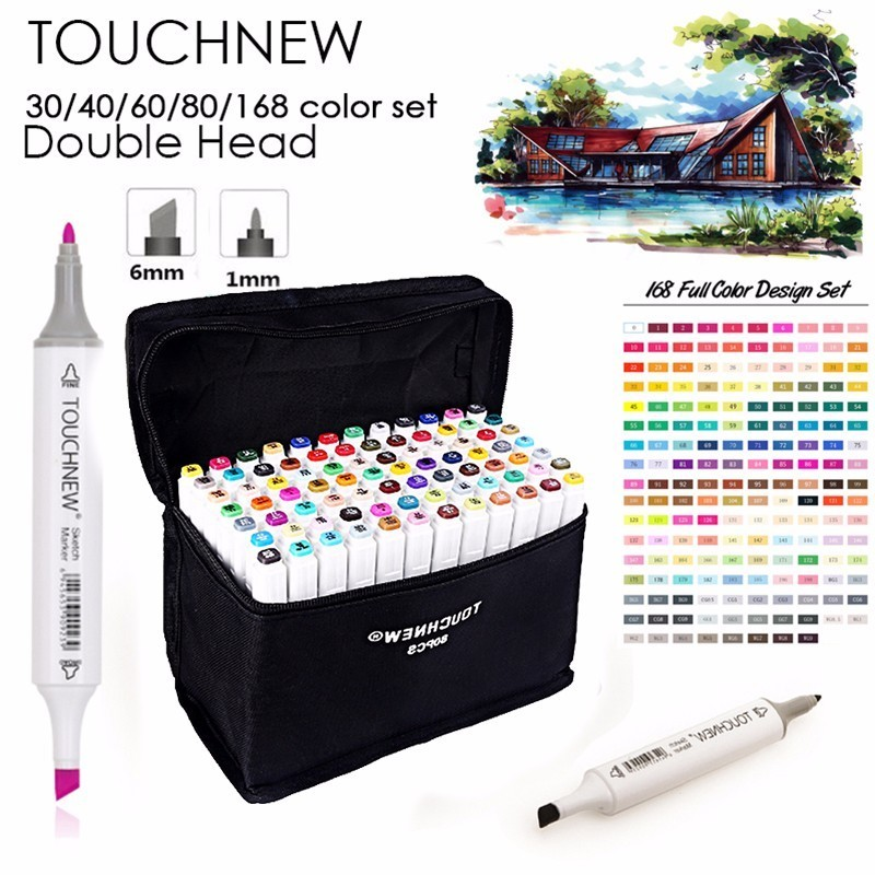 TOUCHNEW Art Marker 30/40/60/80 Colors Alcohol Based Ink Marker Set For Manga Dual Headed Art Sketch Markers Design Pens Anime touchnew 30 40 60 80 168 colors artist dual headed marker set manga design school drawing sketch markers pen art supplies