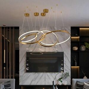 Image 3 - Moderne gold led kronleuchter für treppe große ring edelstahl leuchte kurze villa halle lobby dekoration beleuchtung
