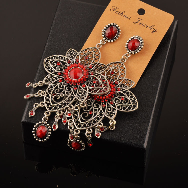 Image 4 - 20 Pairs Mixed Lots Wholesale Women Bohemian Ethnic Long Drop Earrings Mixed Style Flower Waterdrop Carved Bohe Boucle Earringsearring studearring diamondearring back -