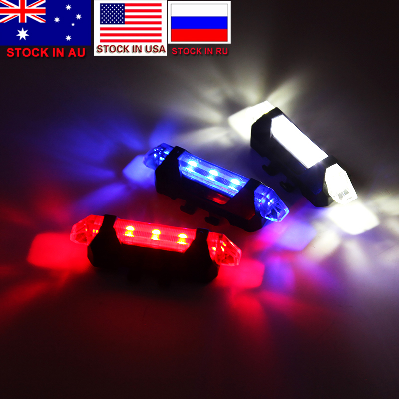 Dropshipping 5 LED Night Mountain Bicycle Cycling Tail Light USB Rechargeable Red Warning Light Bike Rear Safety Accessories